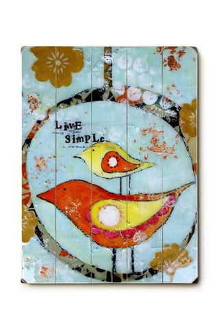 Live Simple Birds Wood Sign 18x24 (46cm x 61cm) Planked