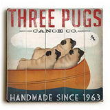 Three Pugs Canoe Co Wood Sign 13x13 Planked