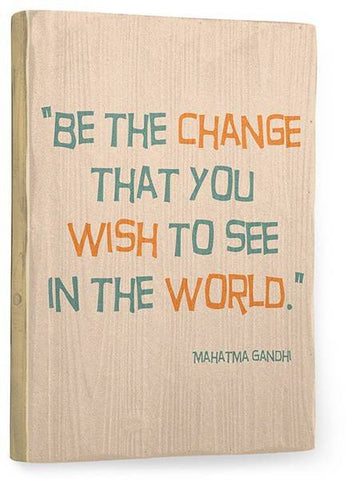 Gandhi Wood Sign 9x12 (23cm x 31cm) Solid