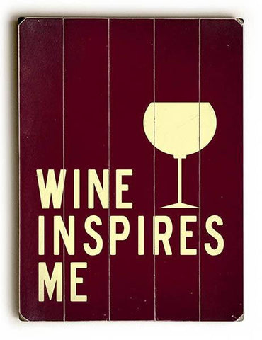 Wine Inspires Me Wood Sign 14x20 (36cm x 51cm) Planked