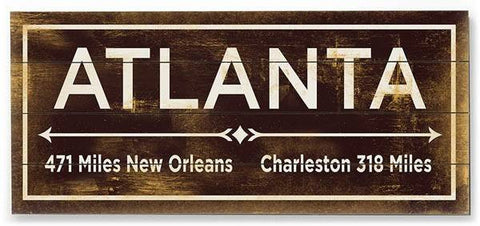 Atlanta Wood Sign 12x16 Planked
