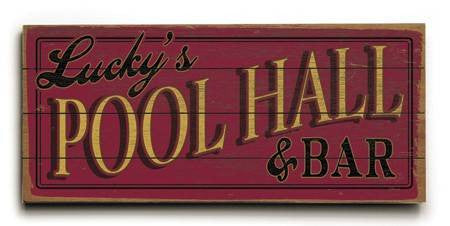 0003-2496-Pool Hall Wood Sign 10x24 (26cm x61cm) Planked
