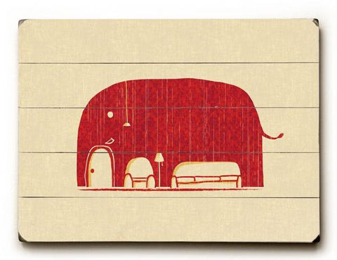elephanticus in the room Wood Sign 25x34 (64cm x 87cm) Planked