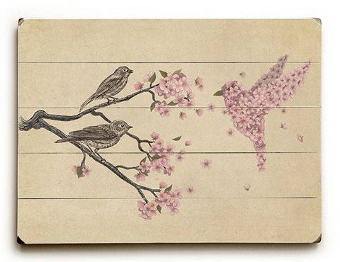 Blossom Bird Wood Sign 12x16 Planked