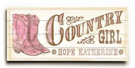 0003-0725-Country Girl Wood Sign 10x24 (26cm x61cm) Planked