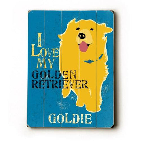 Personalized I love my golden retriever Wood Sign 12x16 Planked