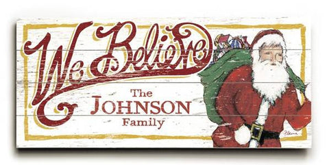 0003-2656-We Believe Wood Sign 10x24 (26cm x61cm) Planked