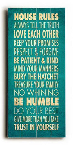 House Rules - Always tell the Truth Wood Sign 10x24 (26cm x61cm) Planked