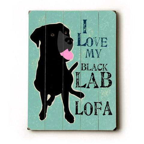 Personalized I love my black lab Wood Sign 12x16 Planked