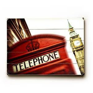 Phone Booth Wood Sign 9x12 (23cm x 31cm) Solid