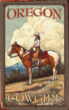 Cowgirl on Horse Wood Sign 14x23 (36cm x59cm) Planked