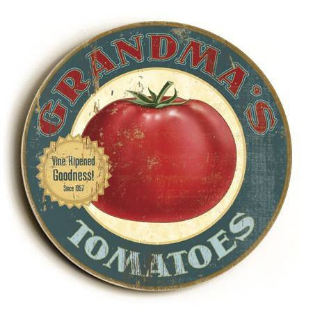 0003-2569-Big Tomato Wood Sign 12x12 (31cm x31cm) Round