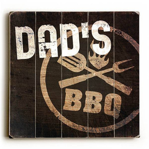 Dad's BBQ Wood Sign 13x13 Planked