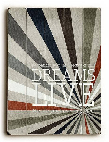 Dreams Live Wood Sign 12x16 Planked
