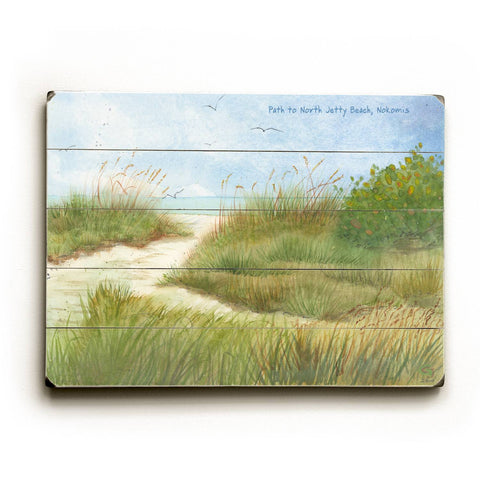 Path to North jetty Beach, Nokomis Wood Sign 12x16 Planked