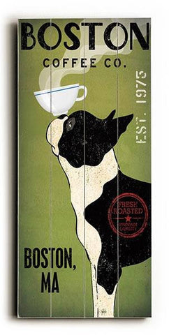 Boston Terrier Coffee Wood Sign 10x24 (26cm x61cm) Planked