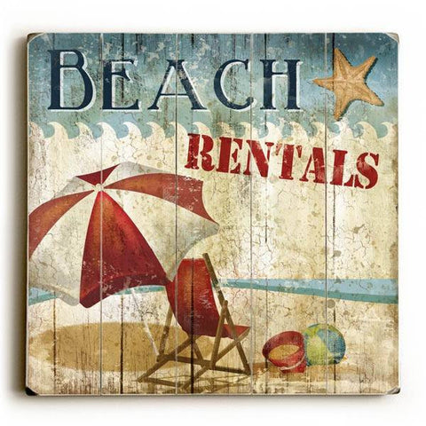 Beach Rentals Wood Sign 13x13 Planked