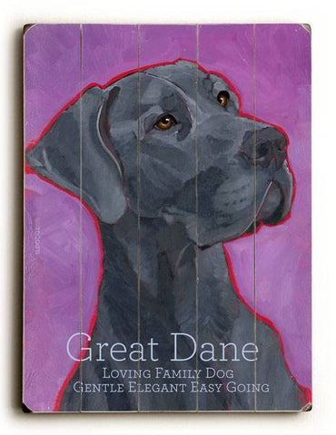 Great Dane Wood Sign 14x20 (36cm x 51cm) Planked