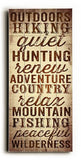 Outdoors Hiking Wood Sign 10x24 (26cm x61cm) Planked