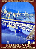 PLM Railway Florence Travel Poster Wood Sign 14x20 (36cm x 51cm) Planked