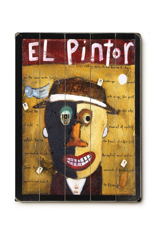 El Pintor Wood Sign 25x34 (64cm x 87cm) Planked