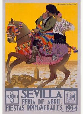 1934 Sevilla Fiesta Print Wood Sign 14x20 (36cm x 51cm) Planked