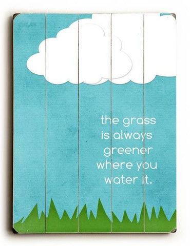 Grass is Always Greener Wood Sign 30x40 (77cm x102cm) Planked