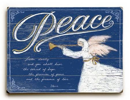0003-0945-Peace Wood Sign 9x12 (23cm x 31cm) Solid
