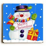 Merry Christmas Snowman Wood Sign 13x13 Planked