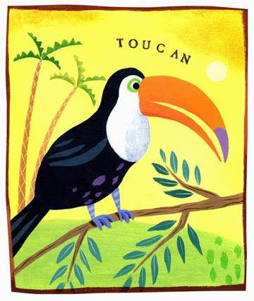Toucan Bird Wood Sign 12x16 Planked