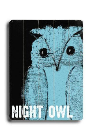 Night Owl Wood Sign 14x20 (36cm x 51cm) Planked