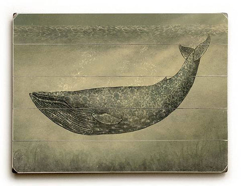 Damask Whale Wood Sign 9x12 (23cm x 31cm) Solid