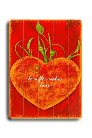 Love Flourishes Wood Sign 18x24 (46cm x 61cm) Planked