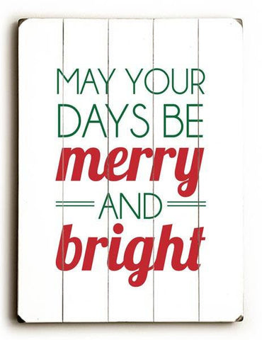 Merry and Bright Wood Sign 9x12 (23cm x 31cm) Solid