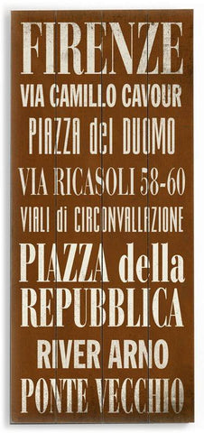 Firenze Wood Sign 10x24 (26cm x61cm) Planked