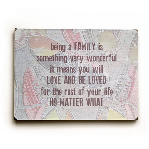 Being Family - Bowling Shoes Wood Sign 14x20 (36cm x 51cm) Planked