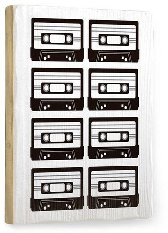 B/W Tapes Wood Sign 12x16 Planked
