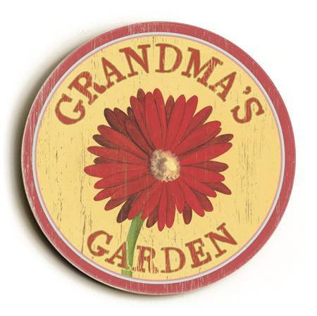 0003-2568-Red Daisy Wood Sign 12x12 (31cm x31cm) Round