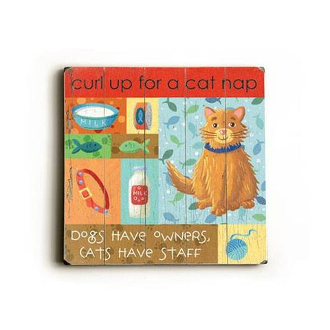 Cat Nap Wood Sign 13x13 Planked