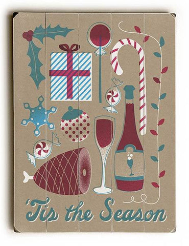 'Tis the Season Wood Sign 18x24 (46cm x 61cm) Planked
