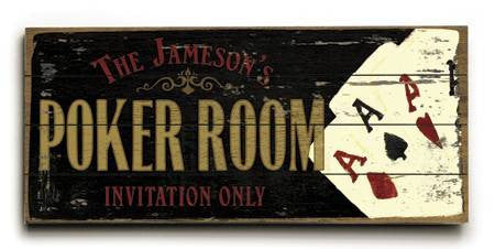0003-2495-Poker Room Wood Sign 10x24 (26cm x61cm) Planked