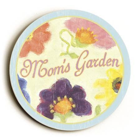 0003-2571-Garden Flowers Wood Sign 12x12 (31cm x31cm) Round