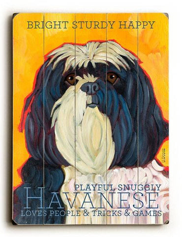 Havanese Wood Sign 12x16 Planked