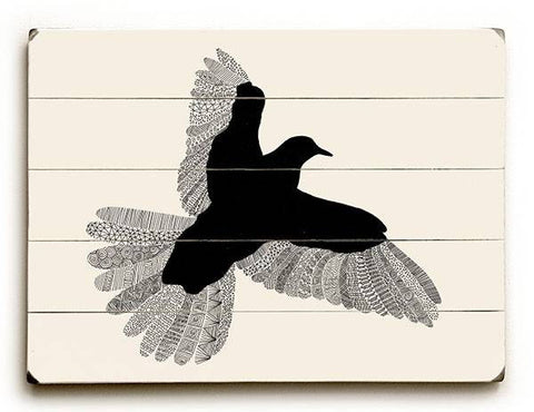 Black Bird Wood Sign 12x16 Planked