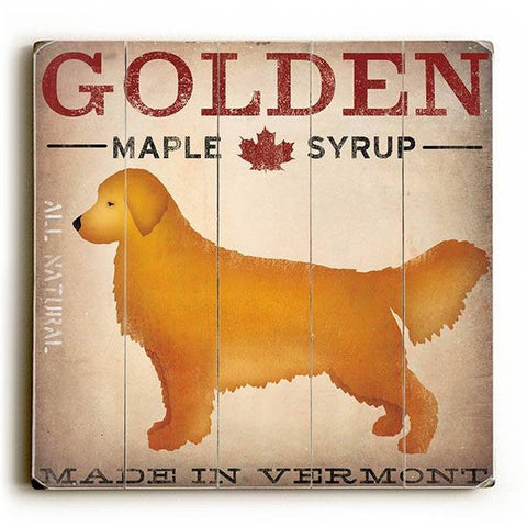 Golden Dog at Show Wood Sign 13x13 Planked