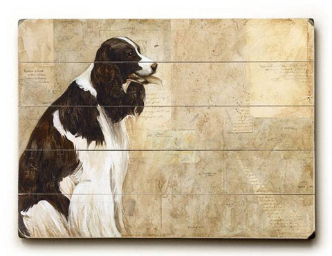Black & White Dog Wood Sign 14x20 (36cm x 51cm) Planked