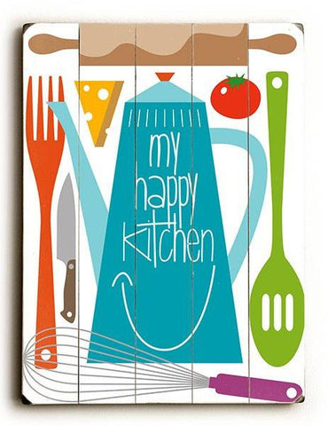 My Happy Kitchen Wood Sign 9x12 (23cm x 31cm) Solid