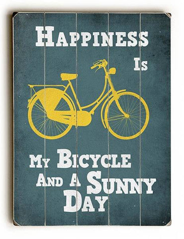Happiness is My Bicycle Wood Sign 14x20 (36cm x 51cm) Planked