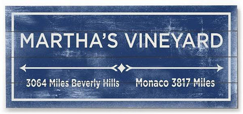 Martha's Vineyard Wood Sign 10x24 (26cm x61cm) Planked
