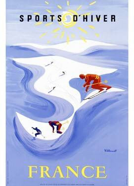 Snow Ski France Travel Poster Wood Sign 12x16 Planked